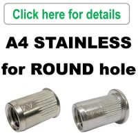 Rivet Nuts - A4/316 Stainless Steel - ROUND Body