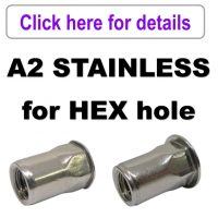 Rivet Nuts - A2 Stainless Steel - HEX Body