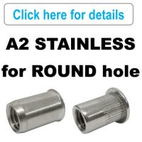 Rivet Nuts - A2 Stainless Steel - ROUND Body