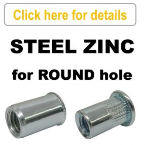 Rivet Nuts - Steel Zinc Plated - ROUND Body