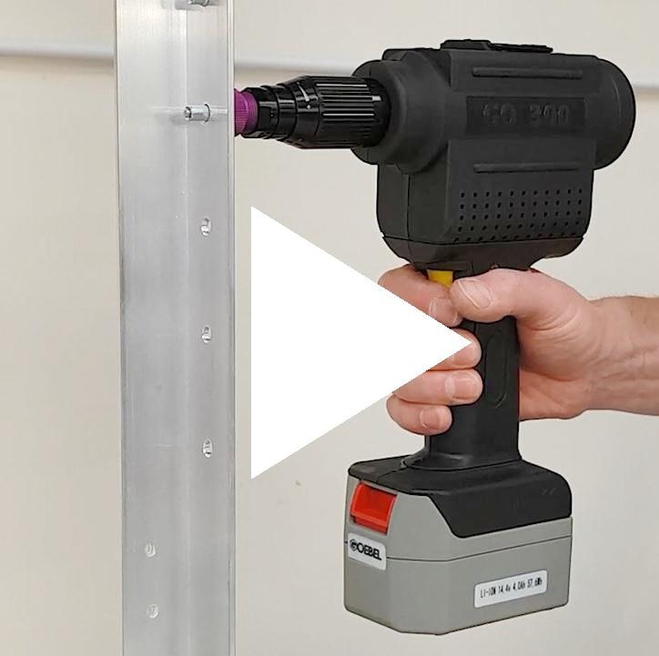Model 300 Cordless Rivet Nut Tool In Operation
